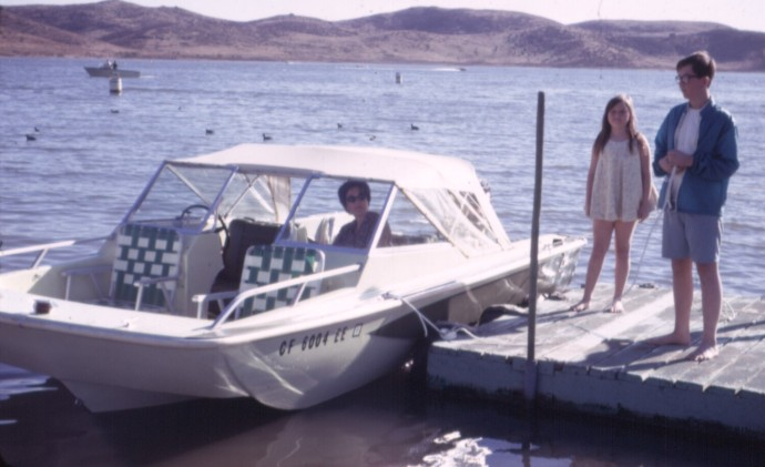 Old days of family boating. Not sure if this is Lake Elsinore or Lake San Antonio